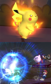 Bild: Pikachu setzt Volttackle in Super Smash Bros Brawl ein